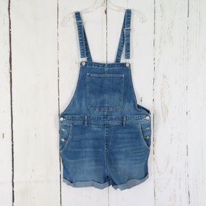 Old Navy Blue Denim Overall Shorts Shortalls XL